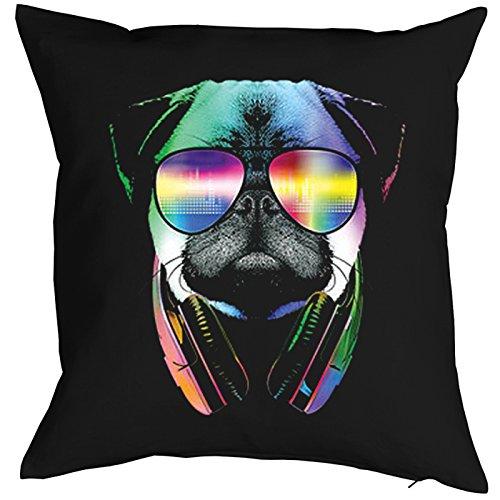 Goodman Design ® Kissen mit Füllung, Dekokissen, Sofakissen mit bunten Hunde Motiv - DJ Pug - Mops mit Kopfhörer
