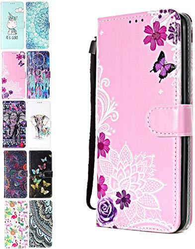 Ancase Lederhülle kompatibel für Huawei Y6 2019 / Honor 8A Hülle 3D Muster Lotus-Spitze Blume Handyhülle Flip Hülle Cover Schutzhülle mit Kartenfach Handytasche für Mädchen Damen