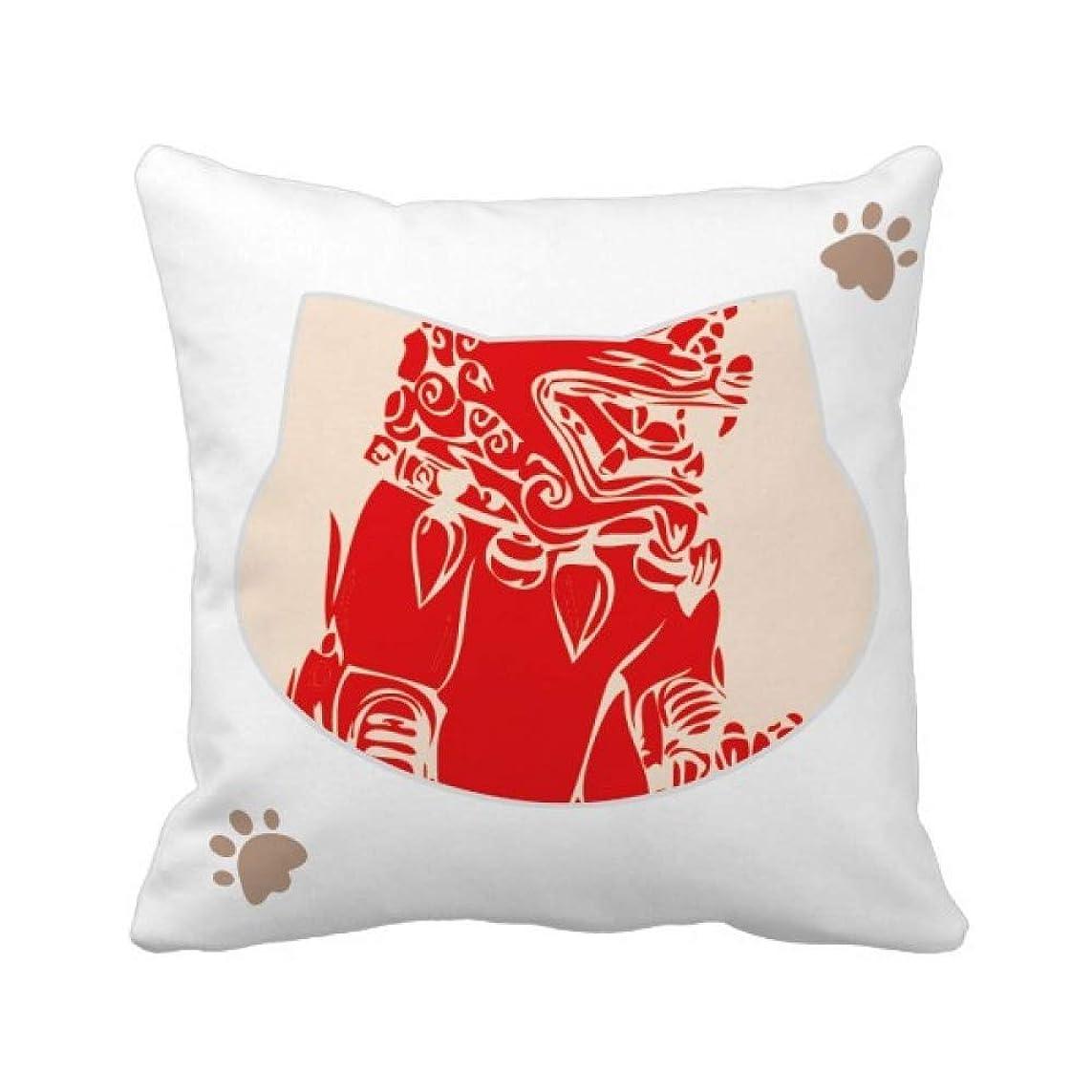 それら咲くロール中国の赤いライオンの切り紙の愛国心 枕カバーを放り投げる猫広場 50cm x 50cm