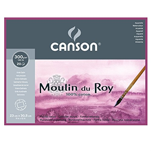 Canson Moulin Du Roy 300gsm Watercolour Paper, Hot Pressed Texture, Size:23x30.5cm, Block of 20 Sheets