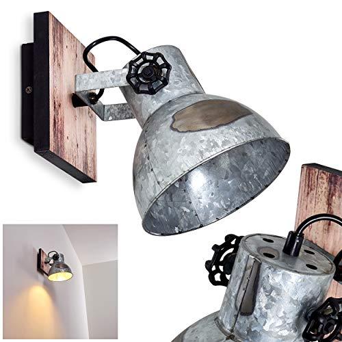 Wandlamp Hora, verstelbare wandlamp van staal in zwart/zilver w. houtoptiek, 1 vlam, 1 x E27 stopcontact max. 40 Watt, wandspot in retro/vintage uitvoering w. roosteroptiek, LED geschikt