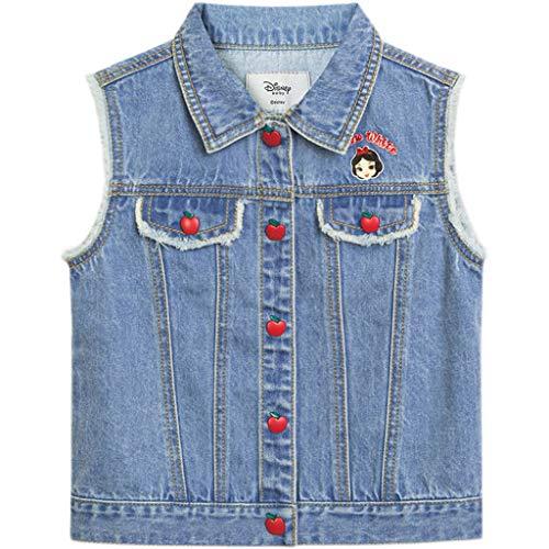 stores Ropa Externa de Chaleco de Mezclilla niñas pequeñas, botón de Ajuste Relajado Abajo de la Chaqueta de Jean sin Mangas (Color : Blue, tamaño : 110cm)