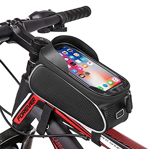 Sacoche Vélo Téléphone Étanche, Sacoche de Cadre Vélo, Support Telephone Vélo Guidon Cadre Housse Pochette de Téléphone pour Vélo VTT Trottinette Scooter avec Espace Rangement Ecran Tactile 6,5 Pouces