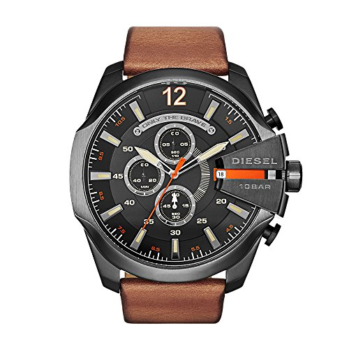 Diesel Men's Mega Chief Quartz Stainless Steel and Leather Chronograph Watch, Color: Black, Brown (Model: DZ4343)