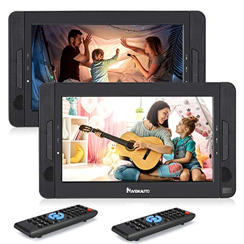 NAVISKAUTO Portable DVD Player for Car with 10.1' Dual Screen, 5-Hour Rechargeable Battery, Supports Seperate Playing or Sync Playback (2 X DVD Player)