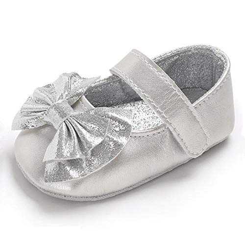 RVROVIC Baby Girls Ballerina Mary Jane Flats Toddler Girl Princess Dress Shoes Soft Infant Crib Shoes(0-6 Months Infant, 5-Silver)