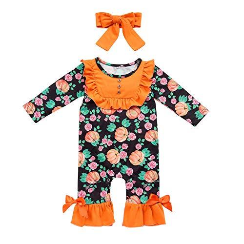 Toddler Little Girls Baby Halloween Pumpkin Romper Headband Icing Ruffle Bottoms Long Sleeve Jumpsuit Playwear Pants Floral Printed Pajamas Nightwear Homewear Birthday Outfit Party Clothes Orange 0-6M