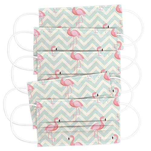 CRAZE 5er Set bunte Mundmaske für Erwachsene Einwegmaske Flamingo Motiv Gesichtsmaske 3-lagig Maske Gesicht und Nase 32077