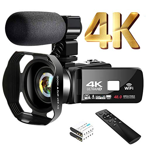 "4K Video Camera Camcorder with Microphone 30FPS 48MP Vlogging Camera with Rotatable 3.0"" Touch Screen and Time-Lapse Digital Camera IR Night Vision Webcam"