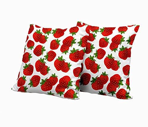 SAIAOS 2er Set Dekorative Kissenbezug,Rote köstliche Erdbeere mit grünen Blättern,Super Weich Kissenbezüge Decor Kissenhülle für Sofa Couch Schlafzimmer Wohnzimmer 45x45cm