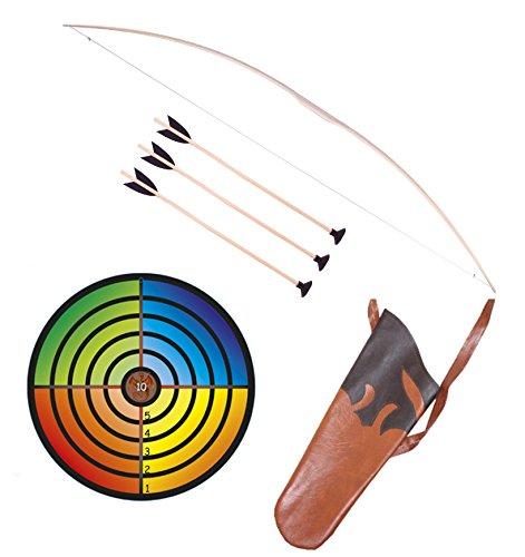 Holzspielerei Kinderbogen 120 cm + Zielscheibe bunt + Köcher + 3 Pfeile Saugnapf 50cm im Set (120 cm)