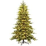 Goplus 7.5 ft Pre-lit Artificial Christmas Tree, Hinged Aspen Fir...