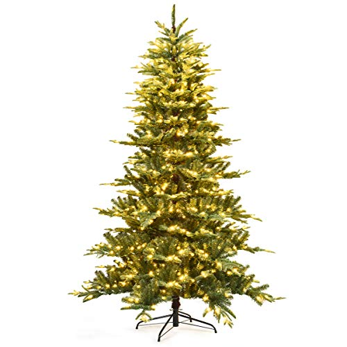 Goplus 7.5 ft Pre-lit Artificial Christmas Tree, Hinged Aspen Fir Christmas Tree w/LED Lights and Metal Stand, Perfect Xmas Tree for Holiday Décor