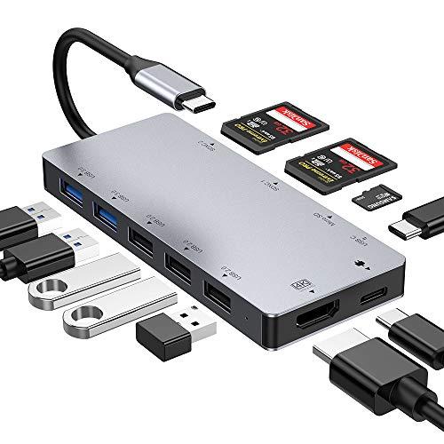 Concentrador USB C con 4K HDMI, 5.0 Gbps, puertos USB 3.0 y 2.0, lector de tarjetas Micro SD / SDXC, puerto de carga, 11 en 1 aluminio tipo C para MacBookPro / 2017/2018,dispositivo tipo C (grey)