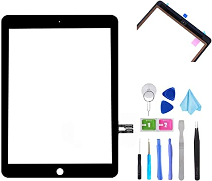 "T Phael Black Digitizer Repair Kit for iPad 9.7"" 2018 iPad 6 6th Gen A1893 A1954 Touch Screen Digitizer Replacement (Without Home Button) +Pre-Installed Adhesive + Tools"