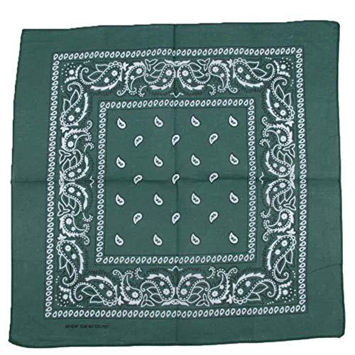 1 stks katoen hiphop bandana's voor mannelijke vrouwelijke hoofd sjaal sjaals polsbandje vintage pocket handdoek, donkergroen