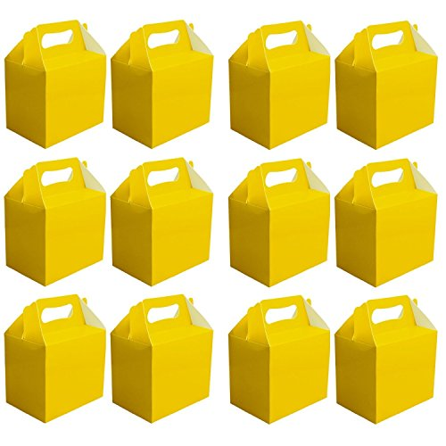 MEGA PACK 12 x PAPER CARD LUNCH BOXES - PARTY PRESENT GIFT BOX PARTIES LUNCHBOXES - CHOOSE COLOUR (Yellow) by Red Star