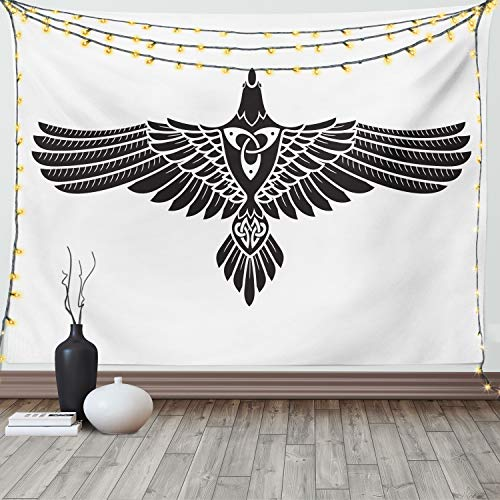 Lunarable Raven Tapestry Queen Size, Norse Theme Bird in Celtic Design Monochrome Style Illustration Print, Wall Hanging Bedspread Bed Cover Wall Decor, 88' X 88', Charcoal White