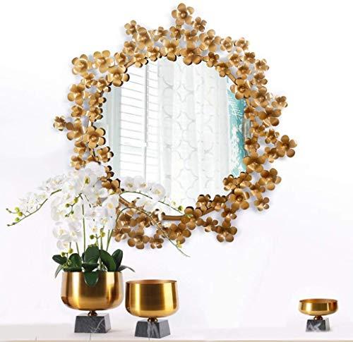 BJLWTQ Espejo de maquillaje espejo europeo 3D modelado baño espejo hierro antiguo 58 cm* 59 cm pared espejo decorativo creativo hogar maquillaje espejo misterioso impermeable