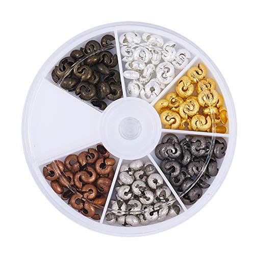 Pandahall 1Box/180pcs 6 Colors 6mm Brass Half Round Open Crimp Beads Covers Knot Covers Beads End Tips for Jewelry Makings Antique Bronze & Red Copper & Black & Silver & Golden & Platinum