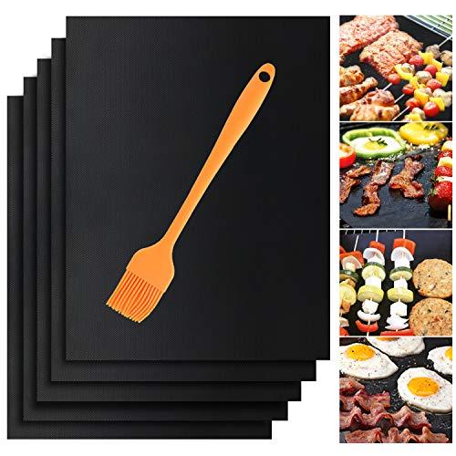 SIHOHAN 5 Stück BBQ Grillmatte 40x33cm PFOA Frei Grillen Matte 100% Antihaft wiederverwendbar Teflon Grillmatten für bis 260°C mit Silikon Bürste