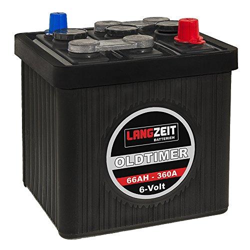 LANGZEIT Oldtimer Batterie 6V 66Ah Autobatterie Starterbatterie 6 Volt 06611
