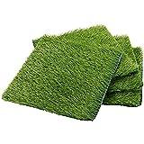 Kunstrasen, 4 Stück, Künstliche Grasmatte, Für den Innen- und Außenbereich, 30,5 x 30,5 cm, Grün