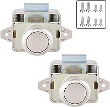Push Lock Taste Catch Lock 15-18mm M/öbelschlosser Schloss M/öbelgriff Camping Caravan Boot 2pcs Pearl Nickel