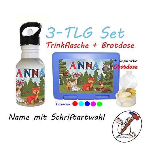 3 TLG Set Brotdose, Obstdose und Trinkflasche mit Motiv Waldtiere und Name/Schriftwahl für Name/Kindergartenset/Schulset/Lunchbox + Flasche + separate Obstdose mit Namen