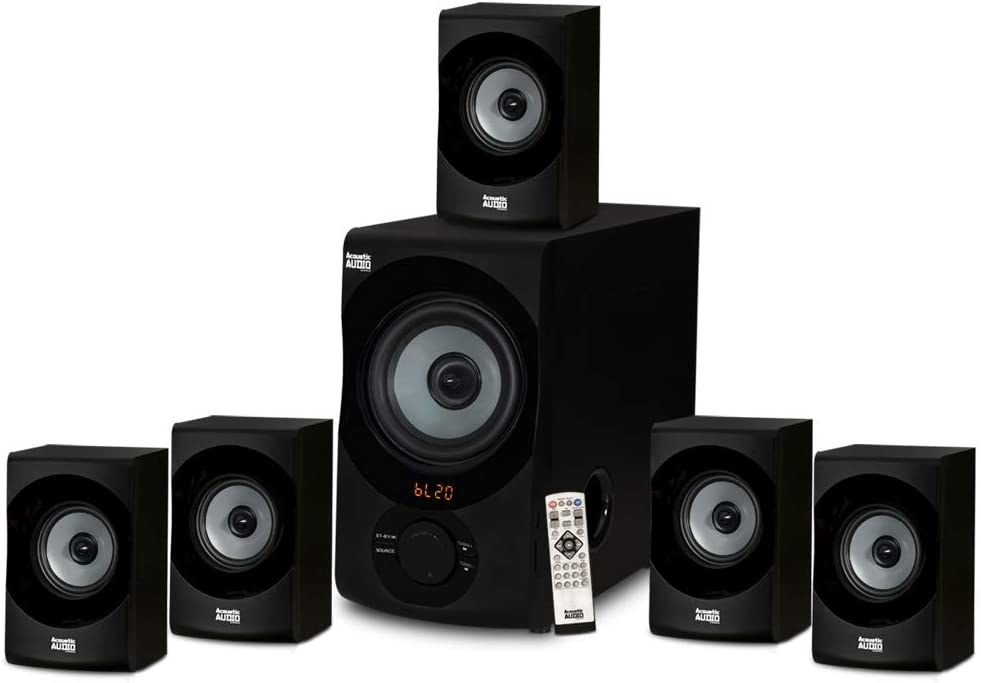 Acoustic Audio AA5172 Home Theater 5.1 Bluetooth Speaker System with USB / SD, Gray (Renewed)