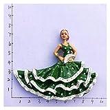 FIRMLEILEI Magneti in frigo Spagnolo Flamenco Dancer MallorCatourism Souvenir Arti Decorative Decorative Adesivi magnetici Decorazione della casa Calamita da frigo (Color : Flamenco Dancer 4)