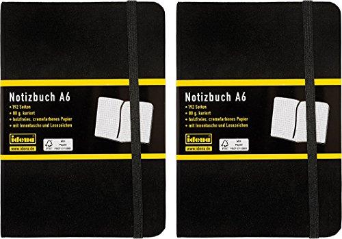 Idena Notizbuch A6, 192 Seiten mit Innentasche und Lesezeichen, 80 g/m², FSC, schwarz (2, A6 kariert)