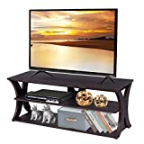 Tangkula TV Stand, 3-Tier TV Stand Storage Console with Storage Shelves for TV up to 50', Home Living Room Furniture, Display Cabinet TV Entertainment Center Console (Wood Top)