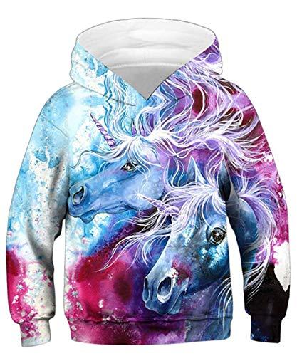 Rave on Friday Unicornio Sudadera con Capucha Niños Hoodie Moda 3D Impreso Pullover Vívido Manga Larga Sudaderas para Niñas L (12-13 Años, 145-155 cm)