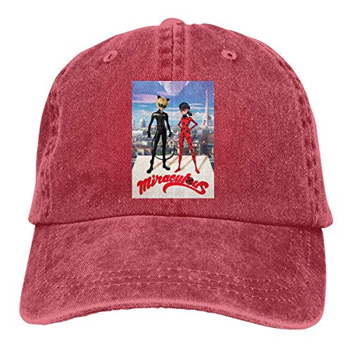 Men Vintage Adjustable Cap Personalized Miraculous Ladybug Fashion Casual Fashion Hat, Red Sombreros y Gorras