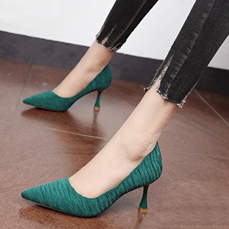 Xue Qiqi Court Schuhe Tipp des high-heel Schuhe fashion Schuhe mit hohen Abstzen flachen Mund weibliche Simple Grün set Foot einzelne Schuhe