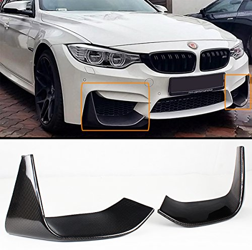2 PCS Add-on Carbon Fiber Front Bumper Splitters Lip Fits for 2015-2019 BMW F80 M3/ F82 F83 M4