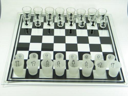 Bella-Vita GmbH Schachbrett aus Glas Drinking Chess groß Schachspiel Geschenk