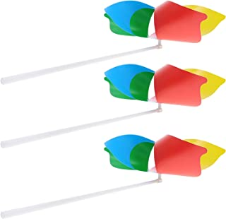 Generic 25pcs Plastic Rainbow Pinwheels with Handle Colorful Party Pinwheels DIY Lawn Windmill for Teenagers Toy Garden Pa...