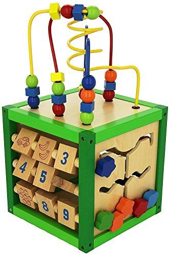 Bieco Activity Würfel ca 20x20x20cm   Motorikspielzeug Baby   Kugelbahn Holz   Activity Board   Motorikwürfel Holz   Lernspielzeug ab 1 Jahren   Würfel Groß   Motorik Spielzeug 1 Jahr   Spieltisch