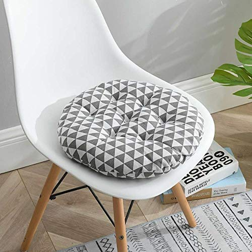 LIMMC 1/4PCS Nordic Print Round Chair Cushion Cotton Breathable Soft Padded Patio Office Decor Cushions Sofa Pillow Buttocks 40 * 40cm,F,1PC