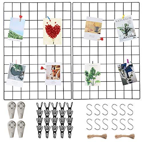 Wandgitter Schwarz(45x65cm) 2 Pack,Wanddekor, Aesthetic Deko,Multifunktionale Gitterwand, DIY Eisen Gitter der Fotowand Dekoration .Deko zum Anbringen von Fotos, Postkarten, Notizen usw