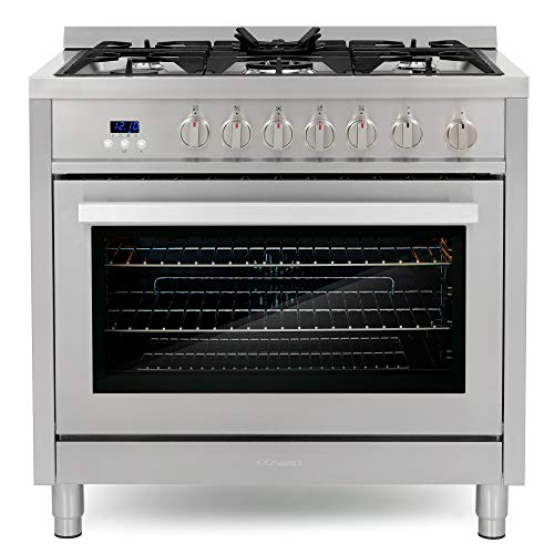 Cosmo COS-965AGFC 36 in. 3.8 cu. ft. Single Oven Gas Range with 5 Burner Cooktop and Heavy Duty Cast Iron Grates in Stainless Steel