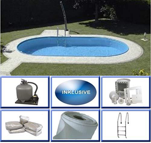 Summer Fun Stahlwandbecken Set Rhodos Exklusiv oval 4,20m x 8,00m x 1,50m Folie 0,6mm Super Komplettset Pool Ovalpool / 420 x 800 x 150 cm Stahlwandpool