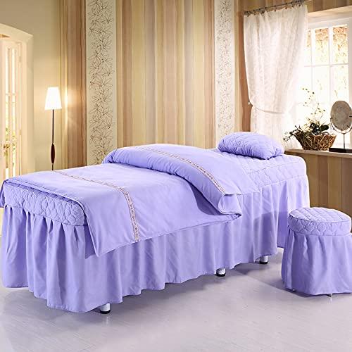 Juego de falda de mesa de masaje de 4 piezas de lujo spa belleza cubierta de cama hoja gruesa acolchada de latón Skings