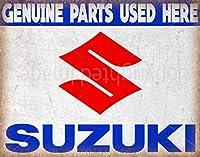 スズキ 純正部品 ヴィンテージ メタル ブリキ看板 ポスター 壁板 ブリキ看板 7.8X11.8インチ