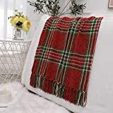 Muse Dream Extra Soft Fringe Christams Throw Blanket Buffalo Plaid Chenille Velvet Red and Green Dual Side Decorative & Functional Lightweight Blanket for Holiday Day Gift All Season Use 50' Wx60 L