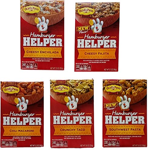 Hamburger Helper Tex-Mex Variety Bundle of 5 - Cheesy Enchilada, Cheesy Fajita, Chili Macaroni, Crunchy Taco, Southwest Pasta