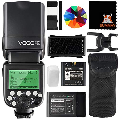 GODOX V860II-N TTL Flash 1/8000s High-Speed Sync 2.4G GN60 Camera Flash Speedlight with Li-on Battery 1.5S Recycle Time 650 Full Power Flashes for Nikon D3400 D3200 D5300 D5600 D7500 D750