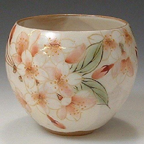 Kiyomizu-kyo yaki ware. Yunomi teacup hanazoroe cherry blossom with paper box. Ceramic. kymz-AHS01